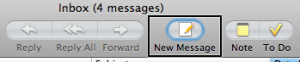 New Message button on Apple Mail toolbar.