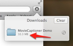 MovieCaptioner Demo folder as shown under Downloads in Safari.