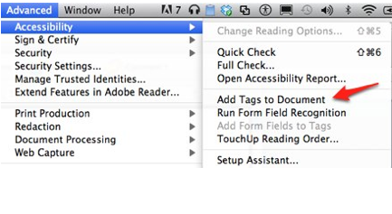 Accessibility, Add Tags to Document selected from Adobe Acrobat Advanced menu.