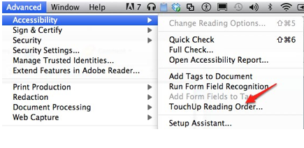 Accessibility, Touch Up Reading Order selected from Adobe Acrobat Advanced menu.