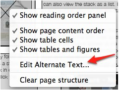 Edit Alternative Text option in contextual menu for an image.