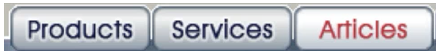 Navigation bar with three options: Products, Services, Articles