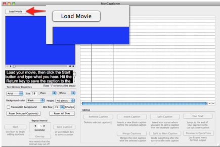 Load Movie button at top of MovCaptioner window.