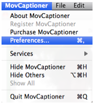 Preferences option in MovCaptioner menu.