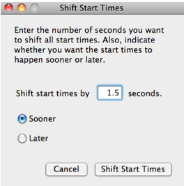 Shift Start Times window.