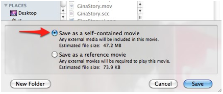 Save as Self Contained Movie option in QuickTime Save As window.