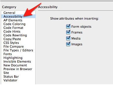 Dreamweaver Preferences window with Accessibility selected on left side of the window.