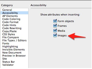 Accessibility options in Dreamweaver preferences.