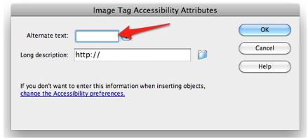Image tag accessibility attributes window pops up when you insert an image.