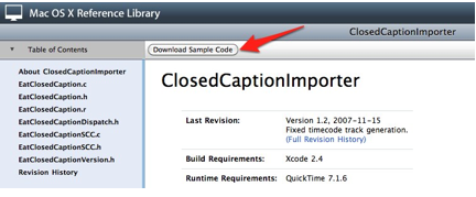Download Sample Code at top of the ClosedCaptionedImporter page in the Mac OS X Reference Library.