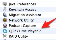 QuickTime Player 7 software in Utilities folder.