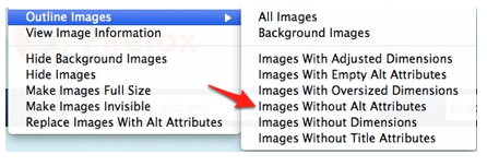 Images without alt attributes selected from Outline images menu.