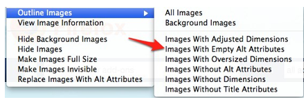 Images with Empty Alt Attributes selected from Outline Images menu.