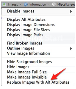 Replace Images with Alt Attributes selected from Images menu.