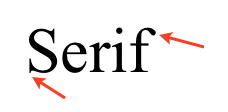 Example of a serif font, which has ornaments on its strokes.
