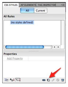 The New Rule button in the CSS Styles Panel of Dreamweaver