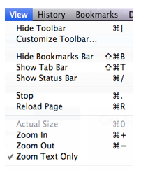 Zoom options of Safari View menu.