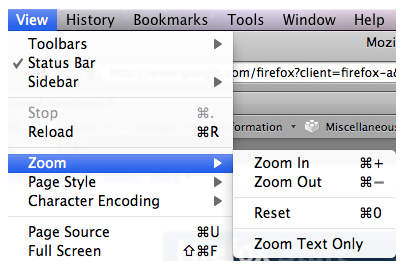 Zoom options on View menu of Firefox for Mac.