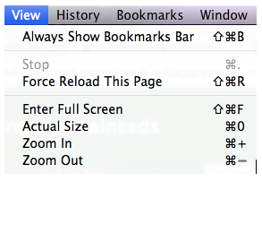 Zoom options of Google Chrome View menu.