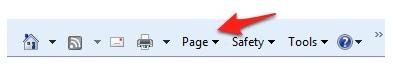 Page menu on Internet Explorer 8 toolbar.