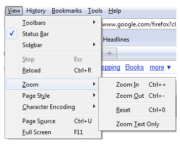 Zoom options found under View, Zoom menu in Firefox for Windows.