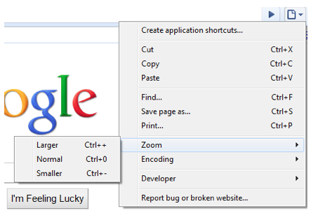 Zoom options found under Page options, Zoom in Google Chrome for Windows.