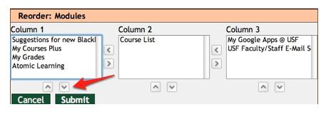 Blackboard Reorder content window.