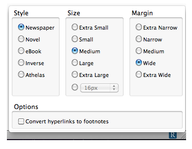 Readability options window.