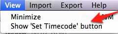 Show Set Timecode button in View menu of MovCaptioner.