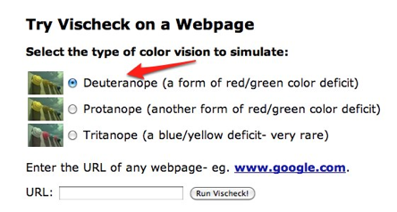 Vischeck options for colorblind simulations.