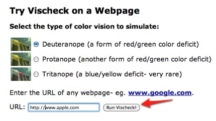 Enter a URL and choose Run Vischeck to run a simulation.