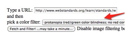 In Colorblind Webpage Filter, use pulldown menu to select a the type of color blindness to simulate.