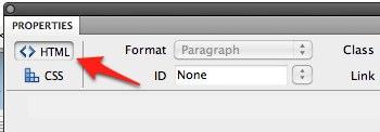 HTML button in Dreamweaver Properties inspector.