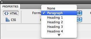Format pulldown menu in HTML pane of Dreamweaver Properties inspector.