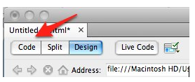 Code button in Dreamweaver document toolbar.