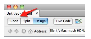 The Code button on the Dreamweaver document toolbar.