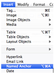 Name Anchor option selected in Dreamweaver Insert menu.
