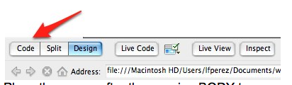 Code button in the Dreamweaver document toolbar.