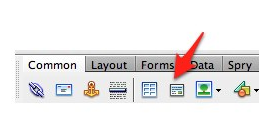 Insert Div Tag button in Common pane of the Insert toolbar.