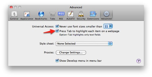 Advanced pane of Safari preferences with Press tab to highlight next item checkbox highlighted.