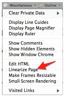 Linearize page option in Miscellaneous menu of Web Developer Toolbar.