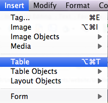 Table option in Dreamweaver Insert menu.