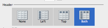 Header options in Insert Table window: None, Left, Top and Both.