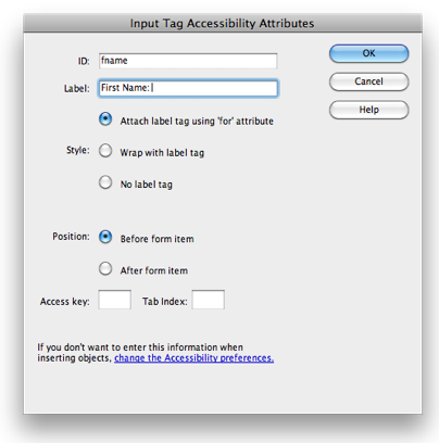 Input Tag Accessibility Attributes window.