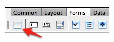 Forms pane of the Dreamweaver Insert toolbar.