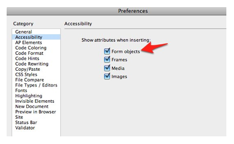 Form Objects option selected in Accessibility pane of Dreamweaver preferences.