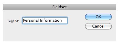 Legend text box in Fieldset window.