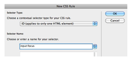 New CSS Rule window.