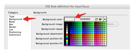 Color picker for Background-color selected in Background pane of CSS Rule Definition window.