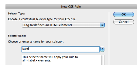 New CSS Rule window.